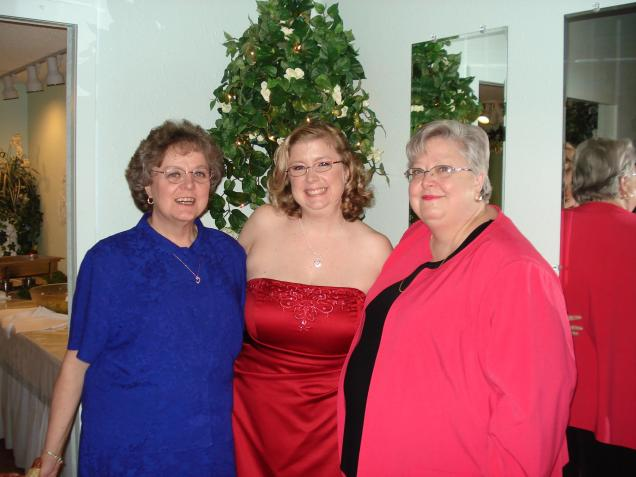 My Auntie T, myself and my Aunt Betty at my Seester's wedding.  Amazing women!