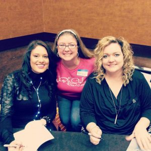 Why do I always look like I am trying not to pee myself?  The beautiful authors Tarryn Fisher and Colleen Hoover trying to not look scared of me