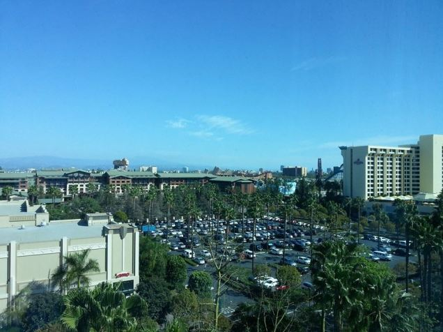 The other view from our room.  See the taller hotel?  That is the Paradise Pier and the longer wider brown one is the Grand Californian.  See how far away we are?  SEE?
